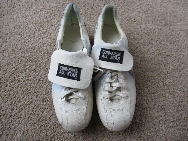 94de4407003e73 VINTAGE Converse All Star Baseball Football Cleats White Blue Leather MENS  8.5