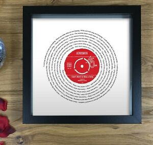 Personalised Anniversary Gift for Him | Song Lyrics Print Framed | Vinyl Record