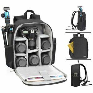 LARGE Black Camera DSLR SLR Backpack Rucksack Bag Lens Case For Nikon Sony Canon