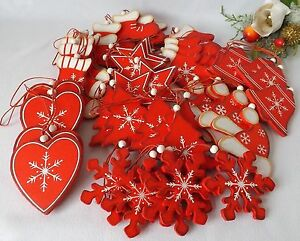 Navidad-45-de-Madera-Colgante-Rojo-Blanco-Adornos-Arbol-Calcetin-Estrella