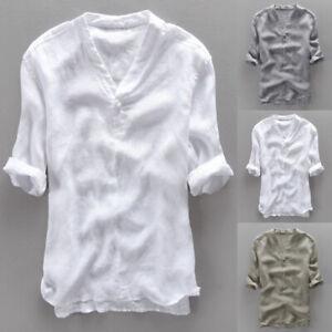 INCERUN-Mens-Casual-Cool-Shirt-Short-Sleeve-Linen-Retro-Summer-Japanese-T-shirt