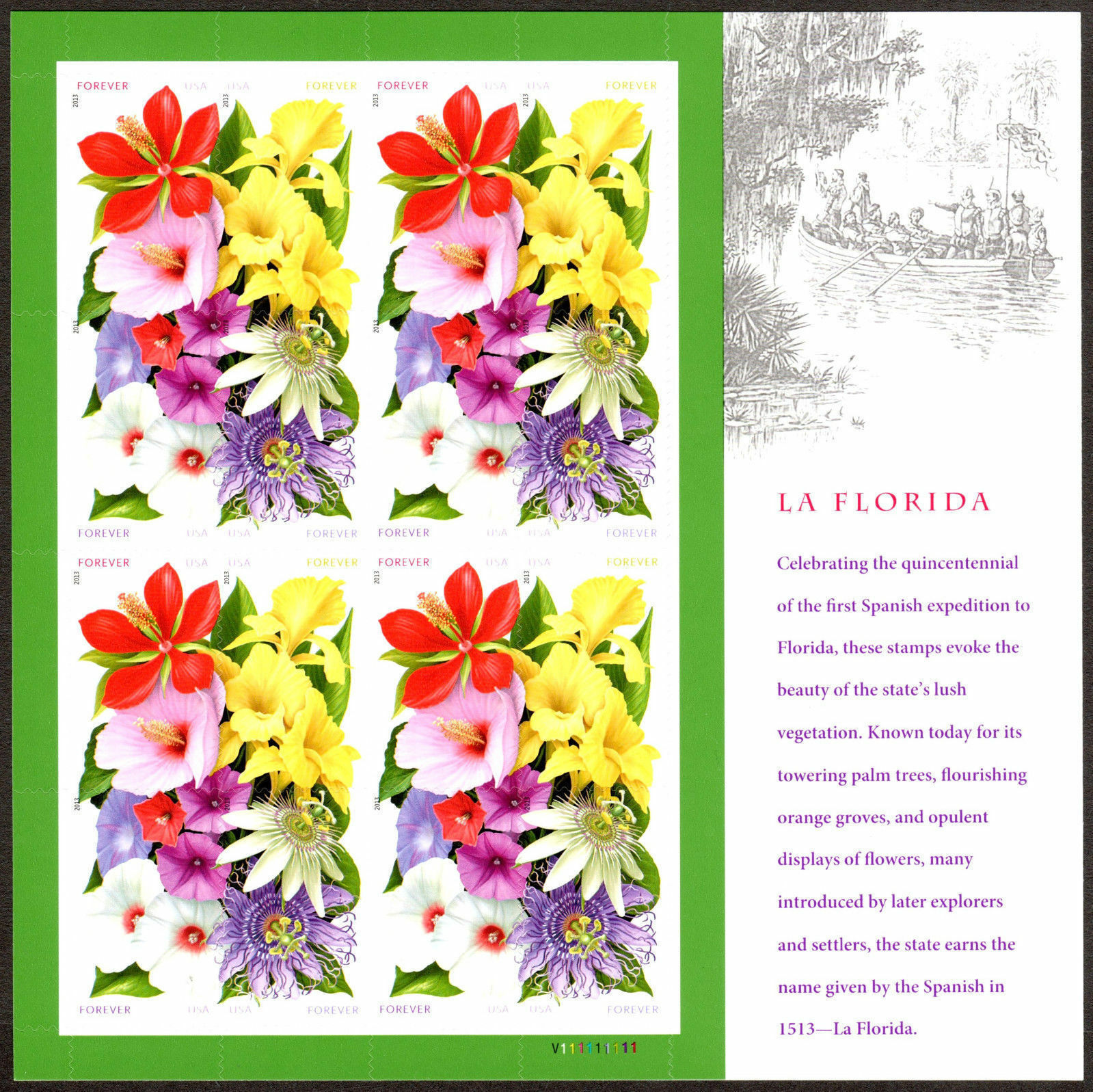 2013 46c La Florida, Flowers, Sheet of 16 Scott 4750-53