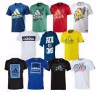adidas Mens graphic logo Cotton Crew T-Shirt top - XS to 2XL White Black Blue