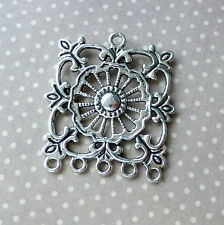 6 pcs Antique Silver Pendant or Earring Connector with 5 loops