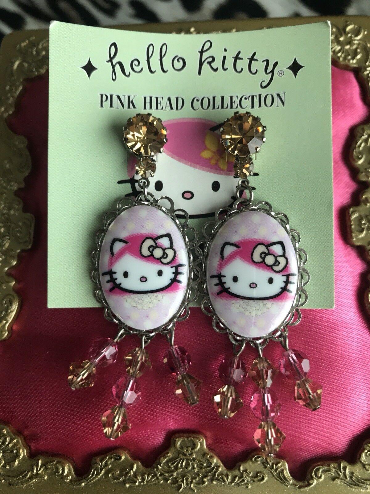 Tarina Tarantino Pink Head Collection Hello Kitty Polka Dot Cameo Earrings RARE