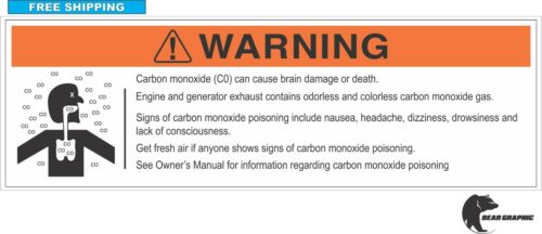 "WATERCRAFT RV Co CARBON MONOXIDE WARNING DECAL BOAT Label 7""X 2.25/""  MARINE"