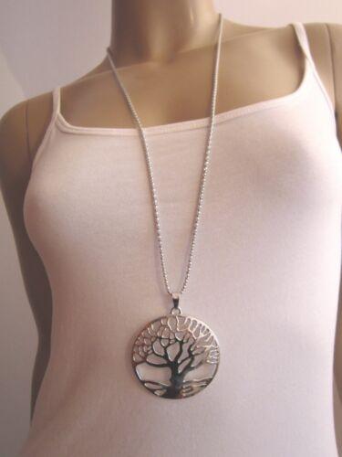 Modekette Bettelkette Damen Hals Kette Lagenlook lang XL Silber Lebens Baum NEU