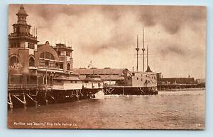 Venice, CA   PAVILION & CABRILLO SHIP EARLY 1900s SEPIA TONE POSTCARD
