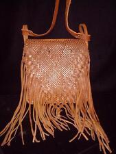 Woven~Braided~Fringed~Brown~LEATHER~Shoulder Bag~Purse~Handbag~SPAIN