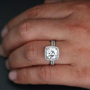 2.40 Ct Cushion Moissanite Band Set 14K Solid White Gold Wedding Ring Size 4.5 5