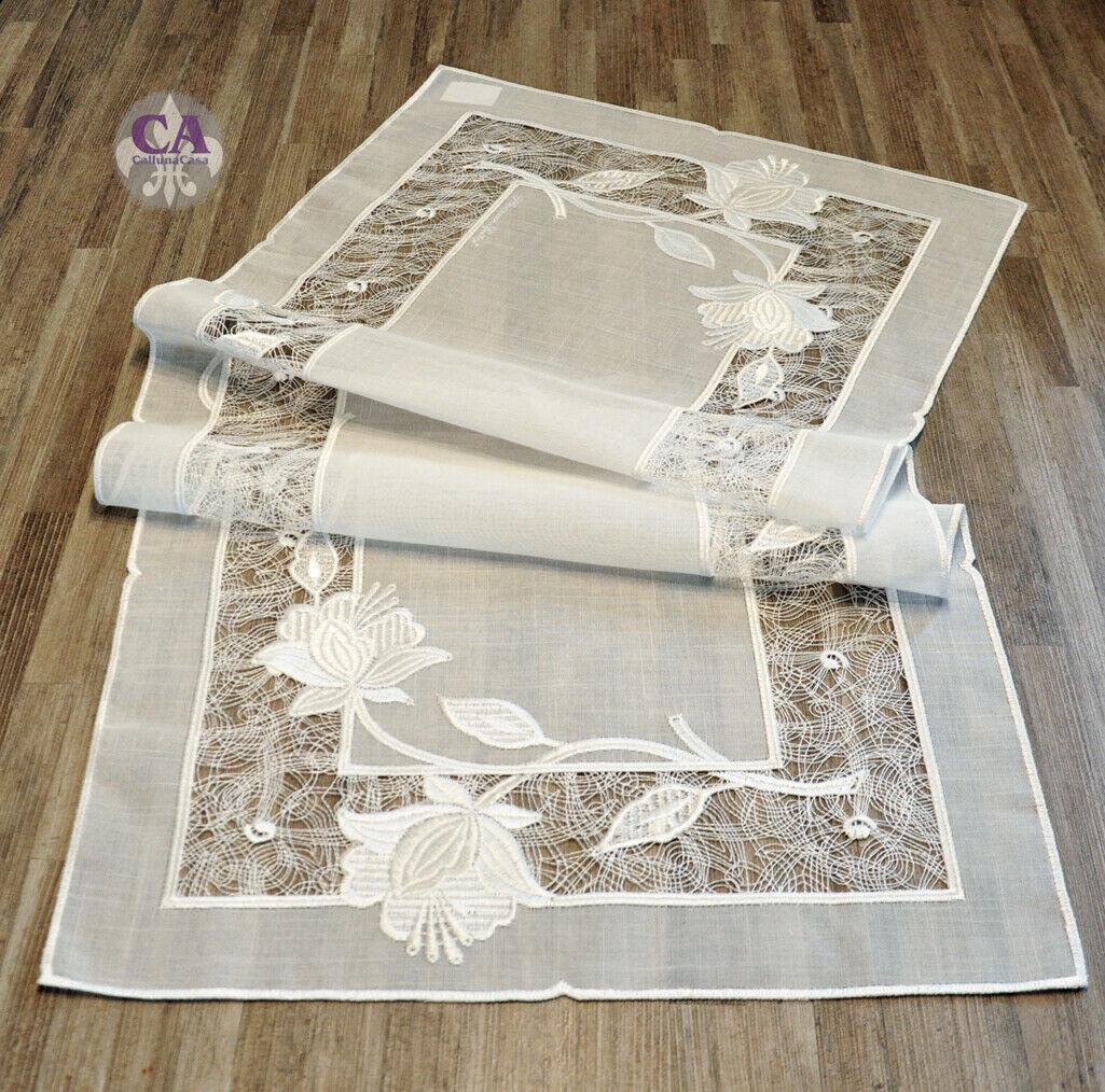 10915 Table Coureur 40x95cm Floraison Plauener dentelle broderie brodé maison de campagne