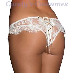 IVORY-White-EYELASH-Lace-RIBBON-Lace-Up-CHEEKY-Tanga-PANTIES-Sexy-LINGERIE-10-12