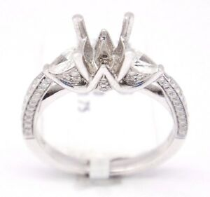 18k White Gold VS1,G 0.75tcw Three Stone Engagement Accent Semi Mount Ring 6