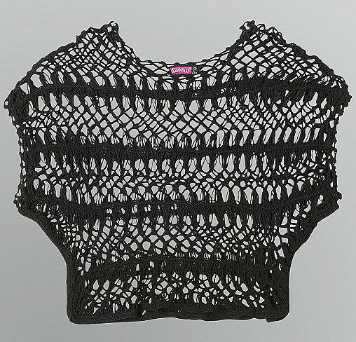 Open Knit Cotton Crochet, Loose Knit Crop Top~ Boho Chic, Gothic ~NWT ~ Junior's