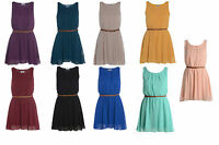 New Womens Chiffon Pleated Belted Sexy Skater Sleeveless Ladies Mini Dress 8-14