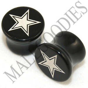 X044-Double-Flare-Saddle-Acrylic-Lonestar-Star-00G-00-Gauge-Plugs-10mm-Black-2pc