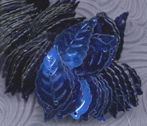 Details about VINTAGE Royal Blue Sapphire LEAVES LEAF SEQUINS Paillettes 2  Hole TRIM 25mm Lot