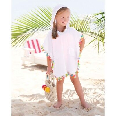 TASSEL And POM POM Hooded Girls Cover Up Swimsuit Cover Up Tunic by Mud Pie  NWT