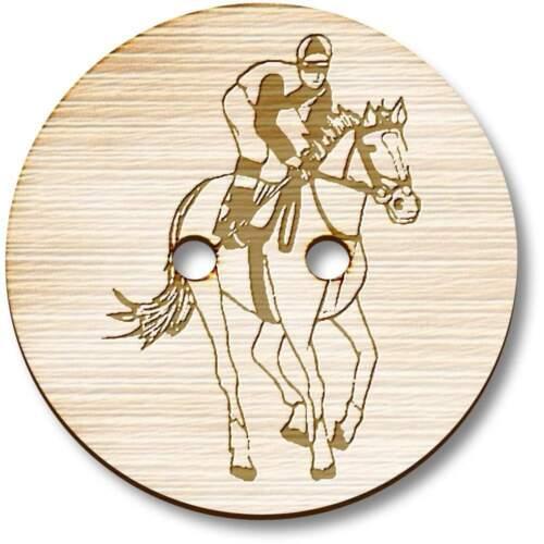 /'Caballo Jockey Equitación Botones Madera BT024389