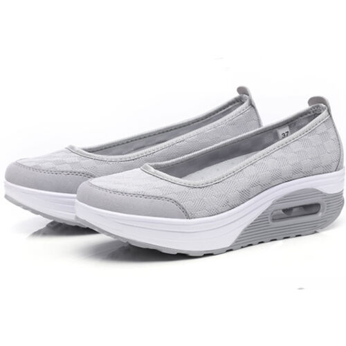 Lady Womens Breathable Platform Walking Athletic Trainers Slip-On Shoes Sneakers