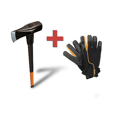 Fiskars Spalthammer X46 + original Fiskars Arbeits-Handschuh Spaltaxt