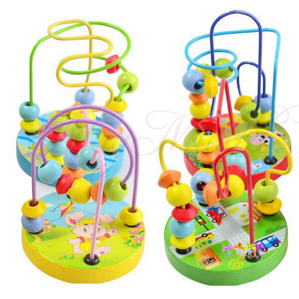 New Children Kids Baby Colorful Wooden Mini Around Beads Educational Game Toy SI