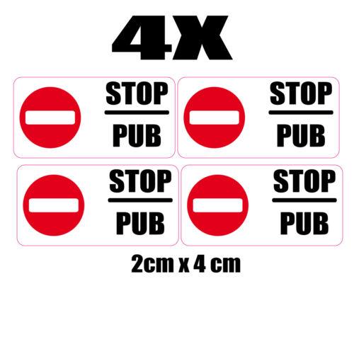 Set 4 x autocollants petits stickers boite aux lettres pas de pub stop 2x4 cm
