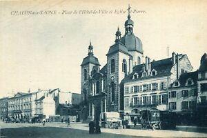 Carte-CHALON-SUR-SAONE-Place-de-l-039-Hotel-de-Ville-et-eglise-Saint-Pierre