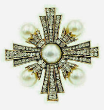 High End GOLD & PEARL Maltese CROSS Clear Rhinestone Retro Vintage Brooch