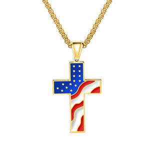 American-Flag-Patriotic-Cross-Enamel-Pendant-Necklace-for-Men-Women-Jewelry