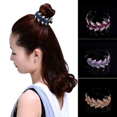 Women Girls Crystal Leaf Crown Ponytail Clamp Holder Hairpin Comb Hair Accessory