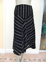 WOMENS BLACK SILK MIX / VELVET SEQUINNED SKIRT - AUGUST SILK - 12