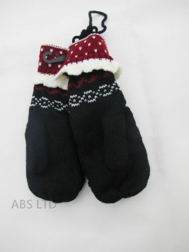 Women Ladies Winter Wool Blend Thick Mittens Knitted Warm Lined Wrist Gloves