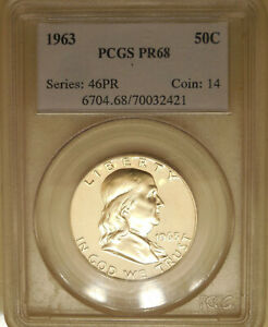 1963-PCGS-PR-68-Franklin-silver-half-dollar-proof-superb-GEM-slight-cam-contrast