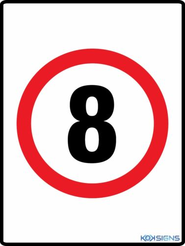 VARIOUS SIZES SIGN /& STICKER OPTIONS SPEED LIMIT 8KPH SIGN 8 KPH SIGN