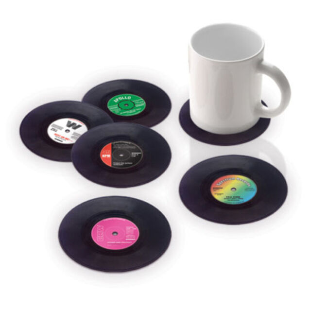 6PCS Vinyl Coaster Groovy Record Cup Drinks Holder Mat Tableware Placemat D4