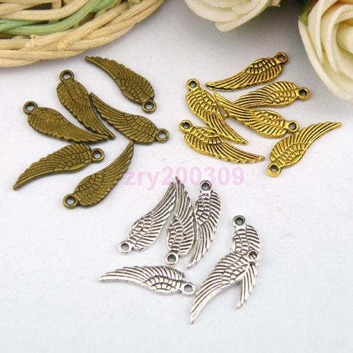 60Pcs Tibetan Silver,Antiqued Gold,Broze Tiny Wing Charm Pendants Drops M1104