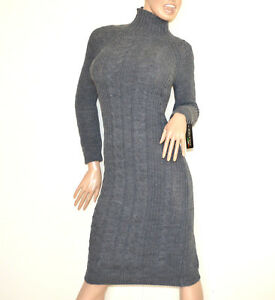 Robe-GRIS-longue-maille-femme-col-haut-tricot-laine-chandail-made-en-Italy-G68