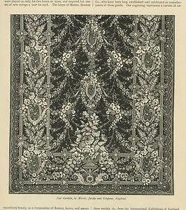 ANTIQUE-LACE-CURTAIN-BY-MESSRS-JACOBY-amp-COMPANY-ENGLAND-ROSES-GARLAND-ART-PRINT