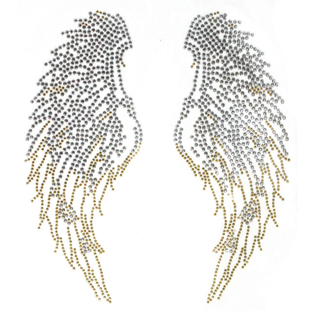 Rhinestone Iron on Transfer Hot fix Motif crystal Fashion Design Silver/Gold W