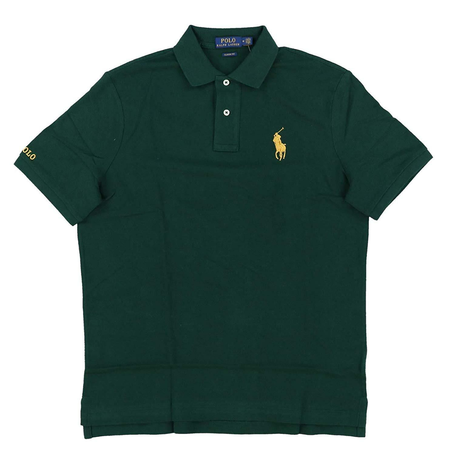 Polo Ralph Lauren Mens Classic Fit Mesh Green with gold Pony Polo Shirt