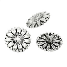 10 Metal Buttons Antique Silver Sunflower Design, 18mm Free UK Postage