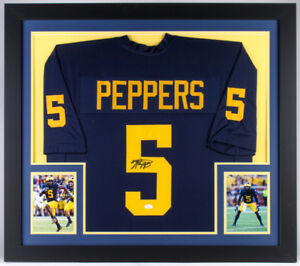 watch 22f86 c556d Details about Jabrill Peppers Signed Michigan Wolverines 31x35 Custom  Framed Jersey (JSA COA)
