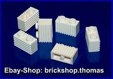 Lego 6 x Basic Stein Riffelstein weiß (1 x 2)  2877 Brick White Grille NEU / NEW