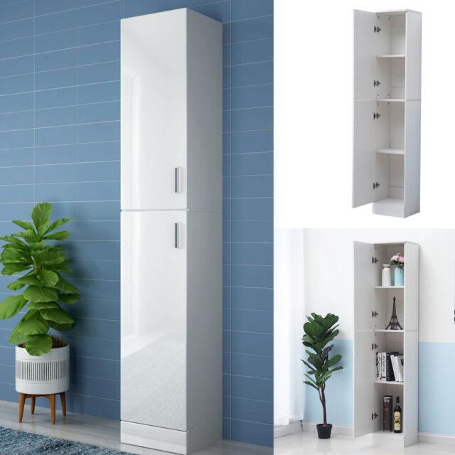 White Floor Standing Tall Bathroom Unit