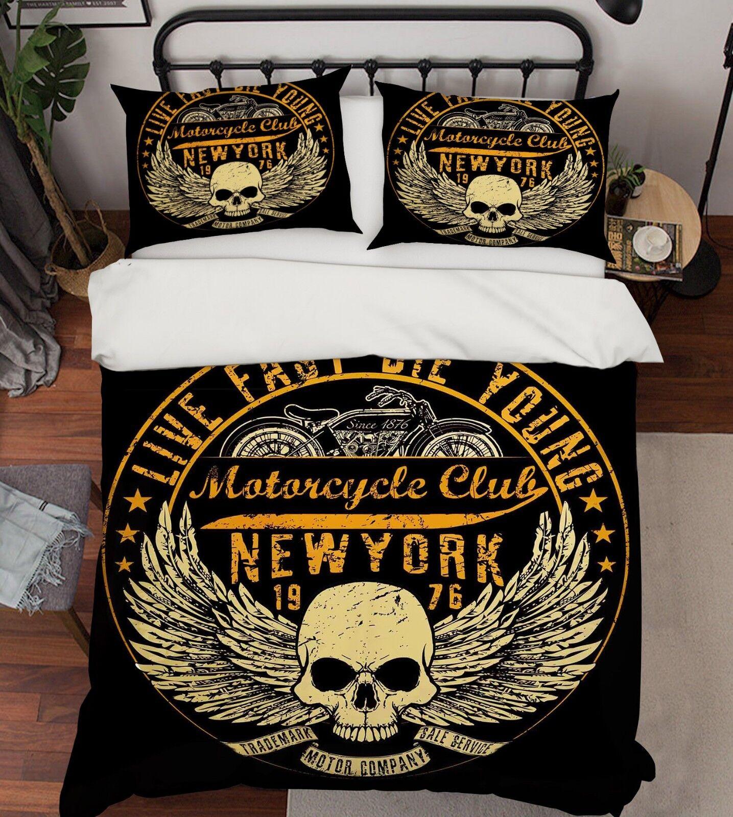 3D Skull New York 68 Bed Pillowcases Quilt Duvet Cover Set Single Queen AU Carly