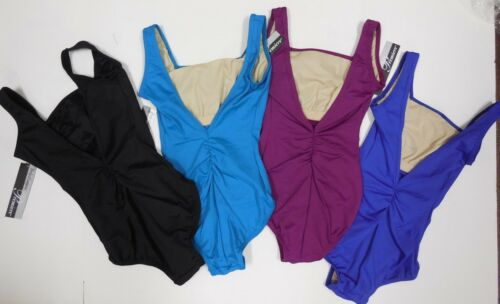 NWT Body Wrappers P341 Ruched V back leotard Premiere line Tank dance ch//ladies