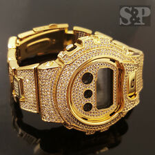 Men Iced Out Simulated Diamond Authentic DW6900 Gold Brass Custom G Shock Watch