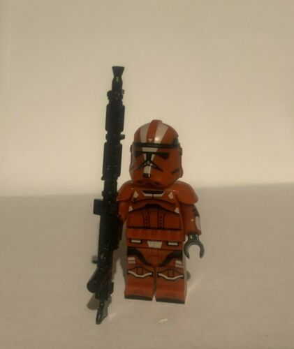 NEW Custom Printed Lego Star Wars Red Mist Clone Trooper Minifigure with Armor