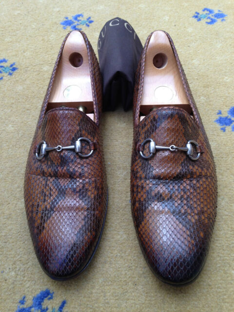 b12854e47b30 Gucci Mens Shoes Brown Leather Snakeskin Horsebit Loafers UK 11.5 US 12.5  45.5 for sale online